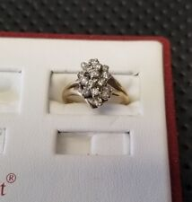 Vintage 14k. Yellow Gold 16 Brilliant Cut Diamond Cluster Ring 1/2cttw. 3.8 Gram