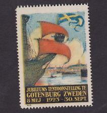 Ancienne vignette étiquette timbre Suède BN47607 Gotenburg 1923 Bateau