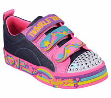 NEW KIDS GIRLS SKECHERS TWINKLE TOES SPARKLE GROOVE DENIM HOT PINK STRAP SNEAKER