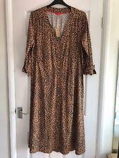 BNWT Joules Genevieve Leopard Animal Print Midi Shirt Dress Size 18