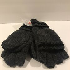 Men's Thinsulate 3M Thick Wool Knitted Half Mitten Suede Palm Gloves Black Med