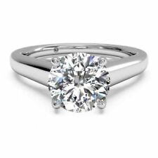 1.00CT SI1/F ROUND CUT LAB DIAMOND SOLITAIRE ENGAGEMENT RING 14K WHITE GOLD