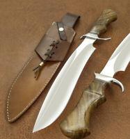 "Beautiful Custom Handmade D2 Steel Hunting Knife & Sheath "" Rose Wood  Handle"