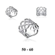 Dolly-Bijoux Bague Rhodié T58 A L'INFINI de Diamant Cz Argent Massif 925