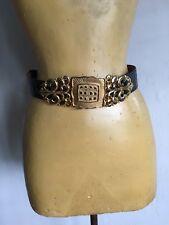 Designer Alexis Kirk Vintage Black And Gold Snakeskin Womens Belt Rare