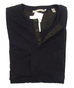 Vince Men's Coastal Blue Wool Cashmere Henley Pullover Sweater $285