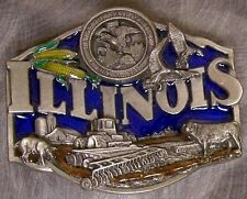 Pewter Belt Buckle State of Illinois colored NEW