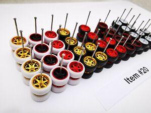 20 set MIX 6 spoke Samed Wheels premium rubber wheels for HW 1:64 cars #20