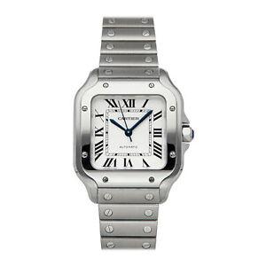 Cartier Santos Medium Auto Steel Mens Bracelet Watch WSSA0010