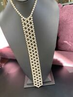 Vintage 1950's Woven White  Pearl Ladies Tie Long Dressy Necklace Japan Clasp