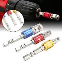 "Drill Bit Socket Adapter 1/4"" 3/8"" 1/2"" Drive Electric Impact Driver 3pc Hex Set"