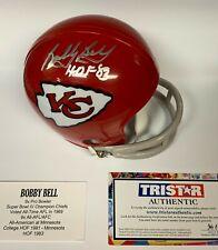 "BOBBY BELL Autographed RETRO Mini Helmet Inscribed ""HOF 83"" KC Chiefs TRISTAR"