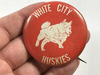 Vintage White City Huskies School Booster Pin Pinback dog Kansas KS