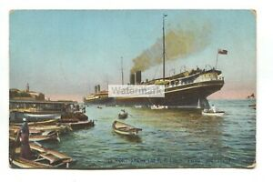 "P & O liners ""Persia"" and ""Macedonia"" at Port Said, Egypt - old postcard"