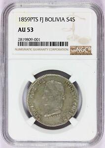 1859 PTS FJ Bolivia 4 Soles Silver Coin - NGC AU 53 - KM# 123.3