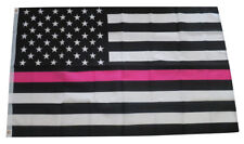 Thin Pink Line Flag Breast Cancer Awareness Support Women 3x5 Feet Printed Flag