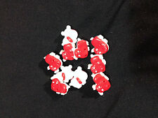 CUTE RED HIPPOS PLASTIC BUTTONS/SEWING SUPPLIES /5 PIECES