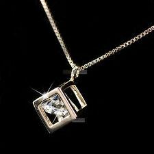 18k rose gold gf made with SWAROVSKI crystal square box pendant necklace elegant