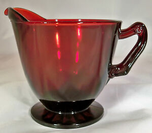 ANCHOR HOCKING ROYAL RUBY FOOTED CREAMER or CREAM PITCHER!