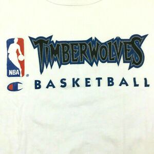 Vtg 90s Champion Timberwolves Basketball Sleeveless T-Shirt NBA Script Logo XXL