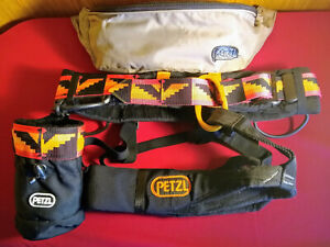 "PETZL ""Jump"" C20 Climbing Harness - Large - Matching Chalk bag - Carry pack"