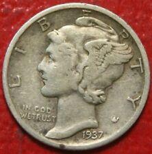 1937-D Mercury Dime , Circulated , 90% Silver Us Coin