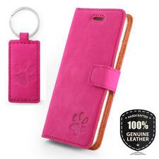SURAZO® Premium Echtes Ledertasche Schutzhülle Nubuk Wallet Case - Pink - Pfote
