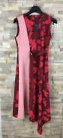 M&S Ladies Size 10 38 BNWT Red Pink Floral Asymmetric Belted Midi Shift Dress