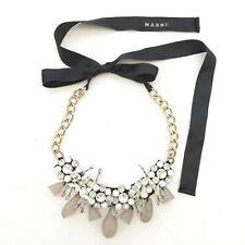 Auth MARNI Stunning Crystal and Diamante Chain & Ribbon Statement Necklace EUC
