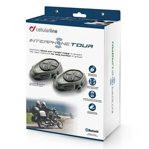 Interphone Cellularline Tour Double Pack 2 Moto Bluetooth Système Intercom