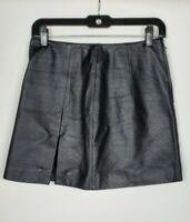 Wilson's Maxima Black Leather Front Slit Mini Skirt Sz 6