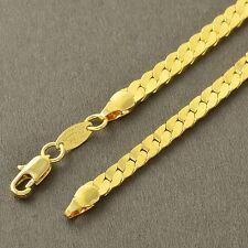 Collier Longue chaine maille anglaise plate brillante dorée homme femme neuve