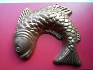 FAB VTG SOLID HEAVY COPPER FISH MOLD◾TIN LINED