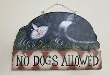 Hand Painted Slate Black and White Cat Wall Hanging Sign Plaque