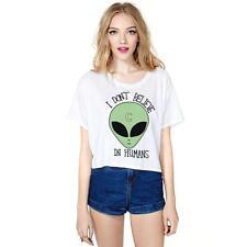 Women alien t shirt Harajuku Cute Kawaii Stripe Short Sleeve  Crop Top T shirt