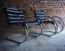 Mies van der Rohe Chair MR Lounge Black Chairs Pair Original Knoll Studio