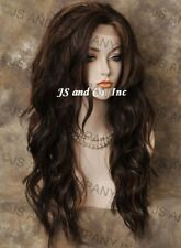 Heat OK Lace Front Wig Long Wavy Brown Auburn Mix sy 4-27-30