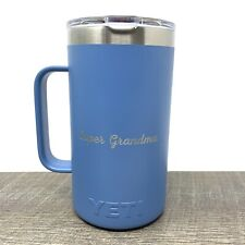 "Yeti Rambler 24 oz Pacific Blue Stainless Steel Mug Customized ""Super Grandma"""