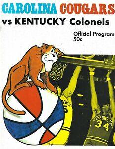 1969-70 Carolina Cougars vs. Kentucky Colonels ABA Basketball Program #FWIL