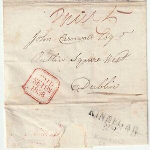1838 IRELAND PRE-PAID WRAPPER KINNEGAD MILEAGE POSTMARK TO DUBLIN 5d POSTAGE