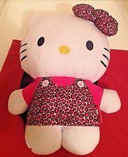 "Sanrio HELLO KITTY Girls Pink Black Cheetah Leopard 15"" Plush Handbag Backpack"