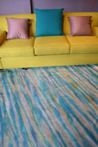 NEW Cowhide Rug Suede Leather striped Blue white purple pink green large beige L