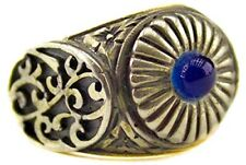 Turkish-Handmade-Jewelry-925-Sterling-Silver-Blue--Amber-Ring