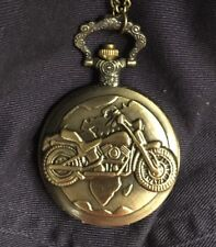 Motorcycle Pocket Watch w/ Chain Pocketwatch Vintage-looking NEW Quartz Necklace