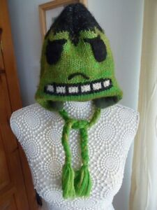 Boys Green Monster Lined Knitted Wool Hat