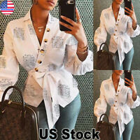 Women Letter Print V Neck Blouse Ladies Long Sleeve Wrap T Shirt Casual Tops Tee