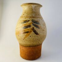 Large Studio Art Pottery Vase Wheel Thrown Tan Hand Made Bamboo Asian Signed 10""