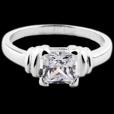 18K White Gold Filled Crystal CZ Cushion Eternity Engagement Ring. Size S / 9.