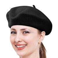 Women Girl Candy Solid Warm Wool Winter Beret French Artist Beanie Hat Ski Cap