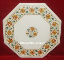 Semi Precious Stone Inlay Marble Center Table Top, Marble Decorative Table Tops